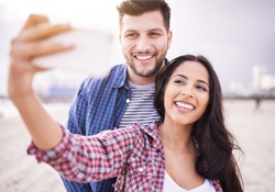 Harrisonburg Teeth Whitening Couple taking selfie